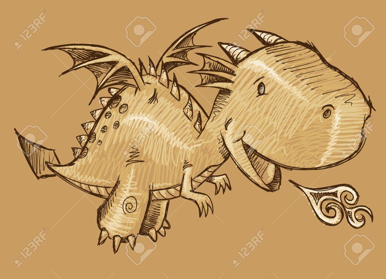 Great Cute Dragon Sketch Vector Art Stock Vector   19798205