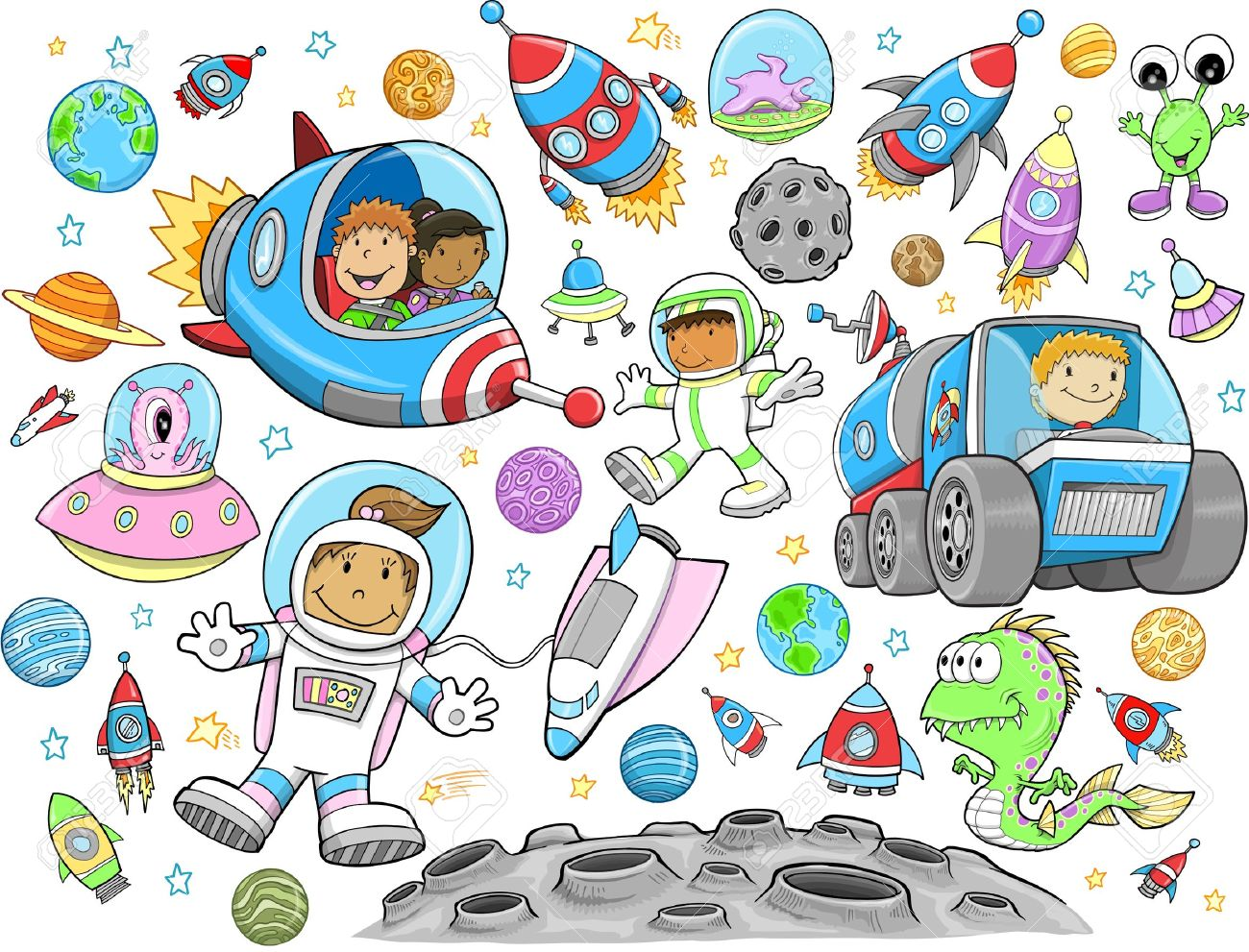 Cute Outer Space Vector Illustration Design Set - 19798206