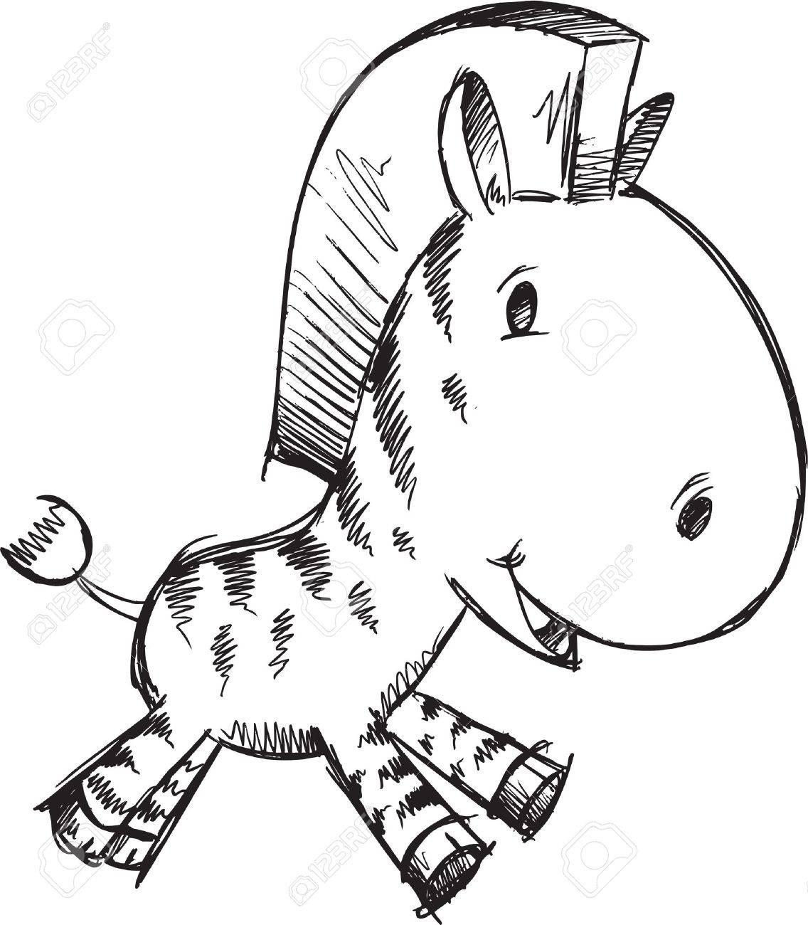 Sketch Doodle Cute Safari Zebra Vector Stock Vector - 19991680