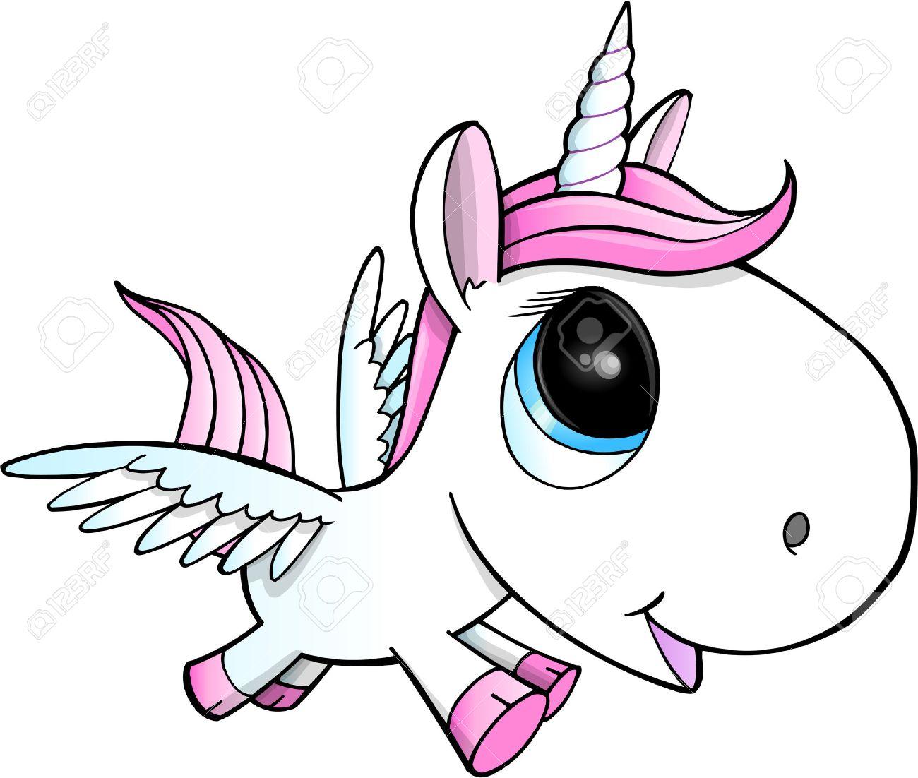 Cute Unicorn Pegasus Vector Illustration Art - 22972747