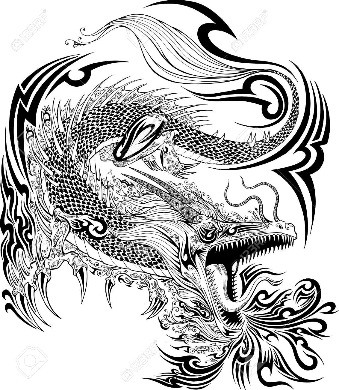 Dragon Doodle Sketch Tattoo Vector - 31454729
