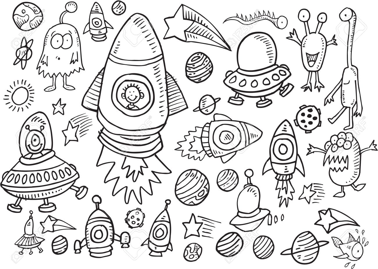 Outer Space Doodle Illustration Art Set Stock Vector