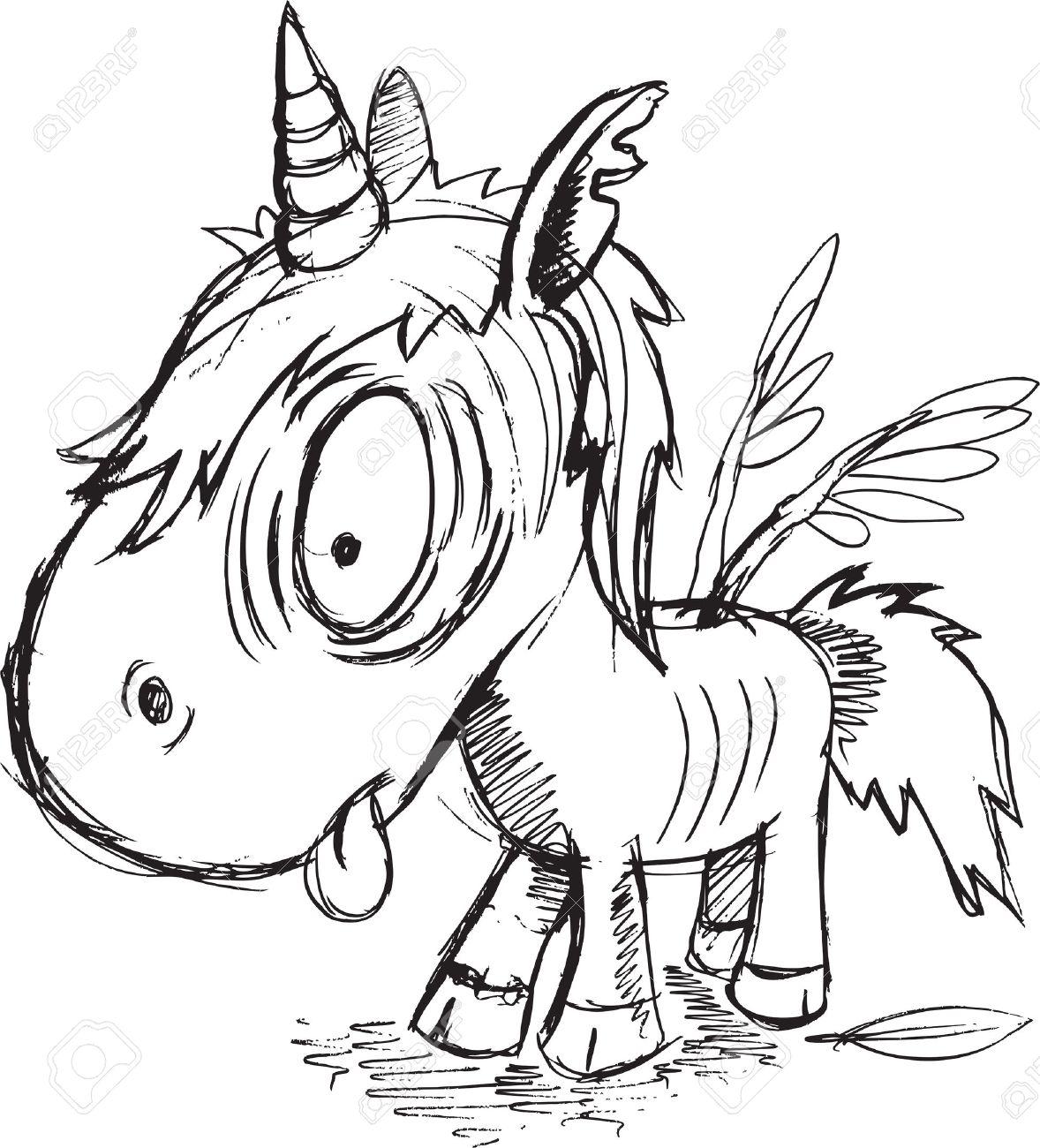 Zombie Unicorn Sketch Vector Illustration Art - 32357512