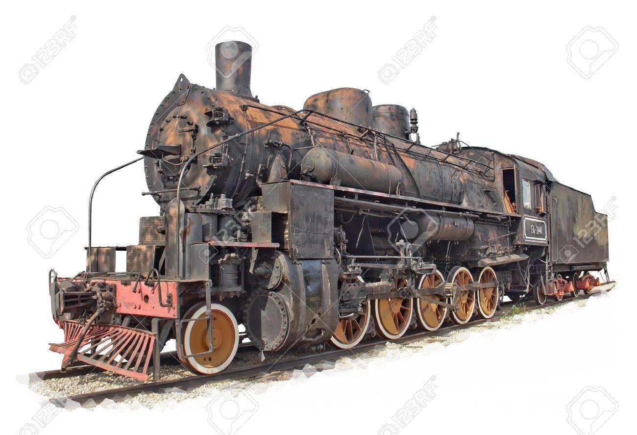 Isolated rusty steam engine locomotive Stock Photo - 14754929