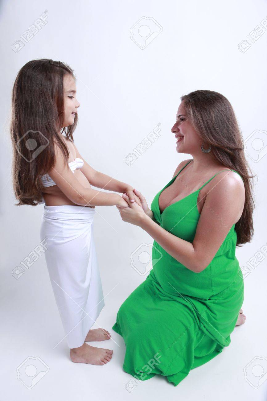 Pregnant mother and daughter Stock Photo - 4737511