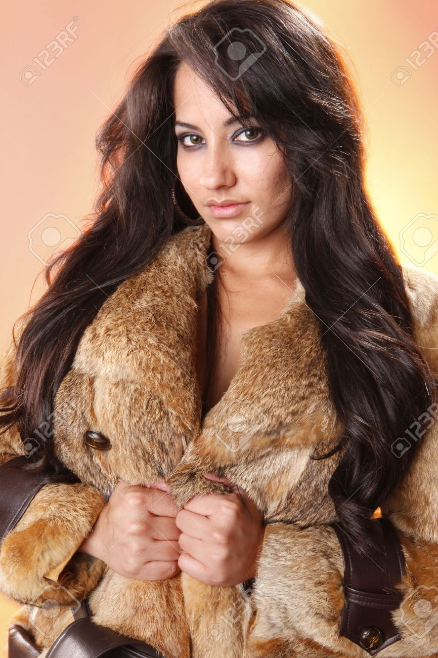 Young Woman In Fur Coat Jacket Stock Photo, Picture And Royalty ...