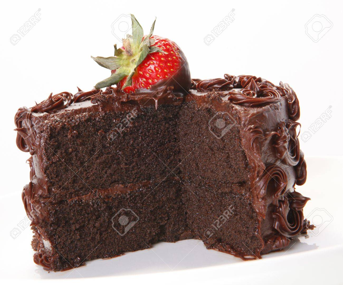 Strawberry Topped Chocolate Sponge Cake Stock Photo, Picture And ...
