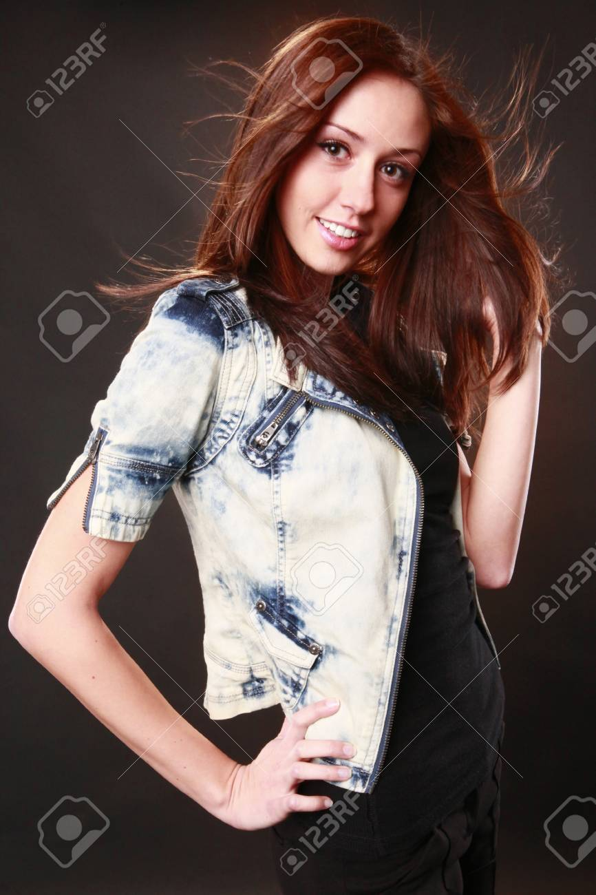 Cute redhead with jeans jacket Stock Photo - 8705978