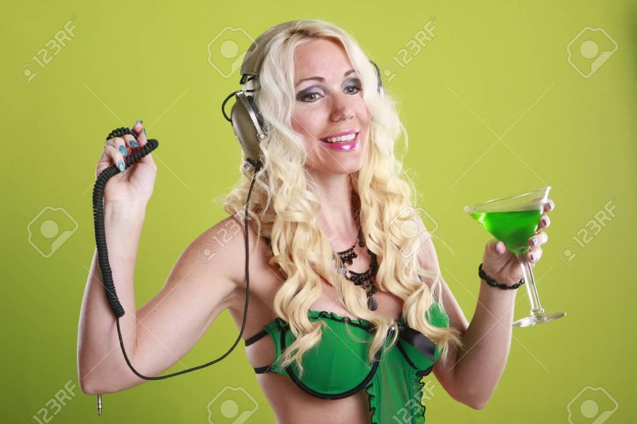 Martini and plug the music Stock Photo - 17084577