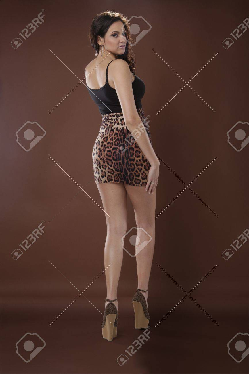 Good looking Latino young woman in animal print Stock Photo - 17124856