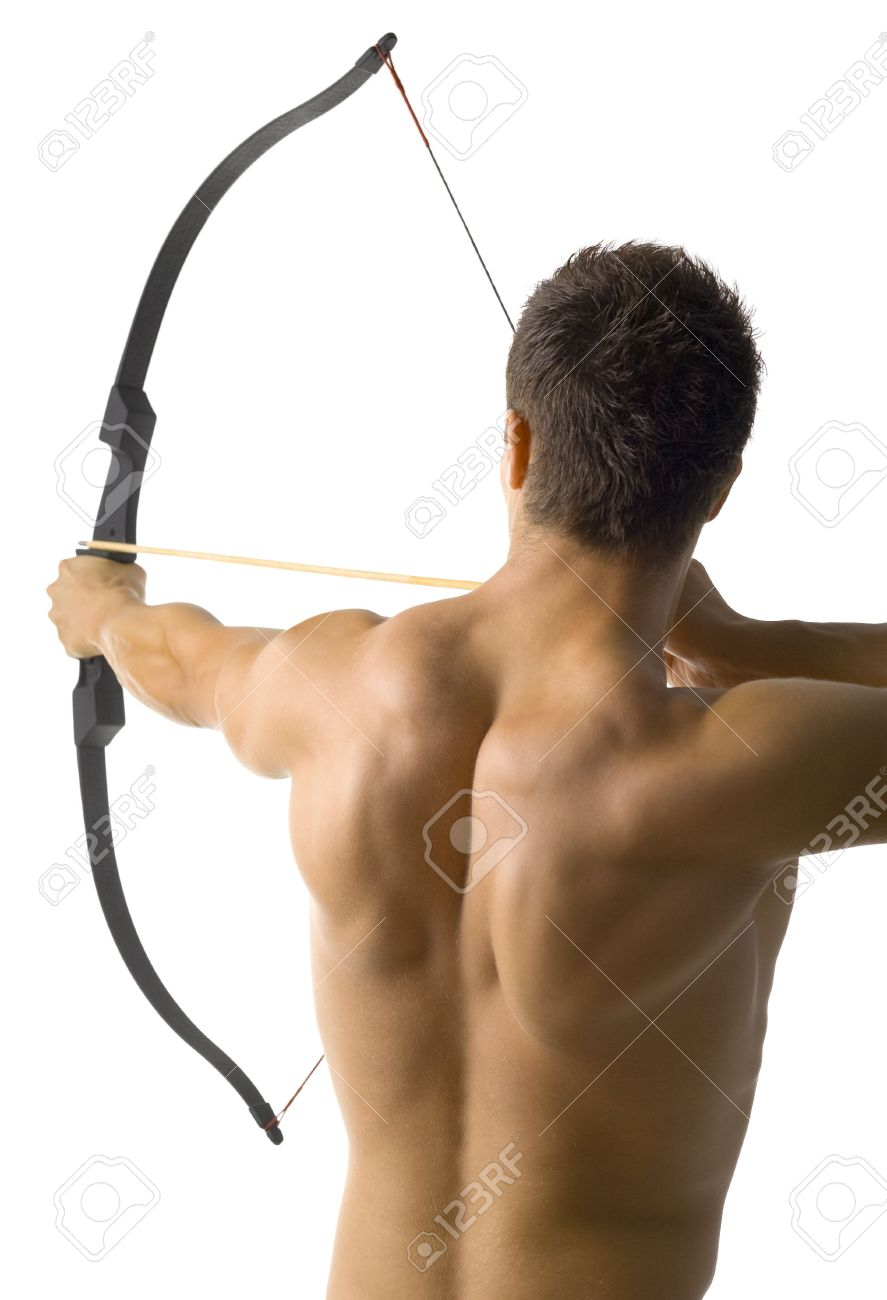 Young, naked man holding bow and shooting to target. Standing back to camera. White background Stock Photo - 2563091