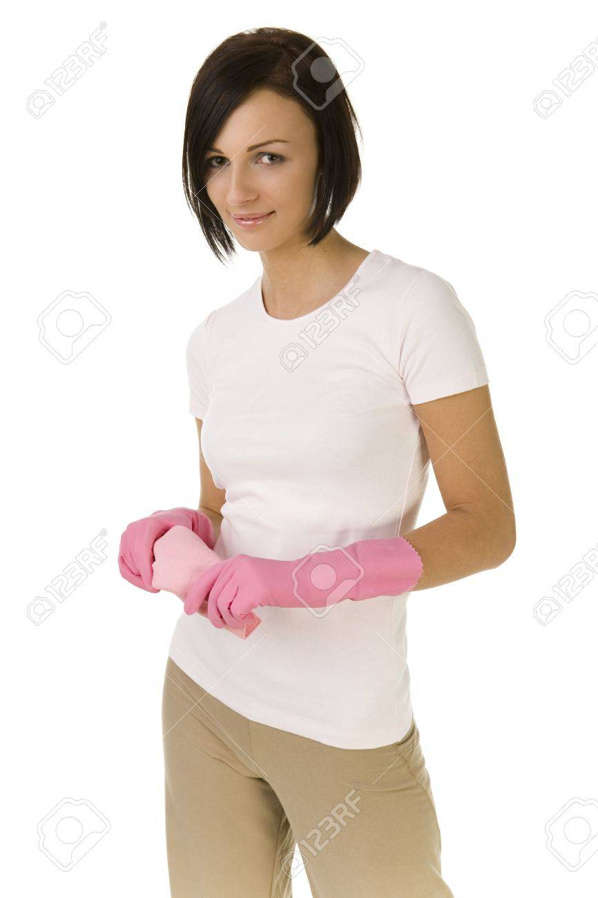 Young woman in pink rubber gloves holding in hands washcloth. Looking at camera, front view. White background. Stock Photo - 2651552