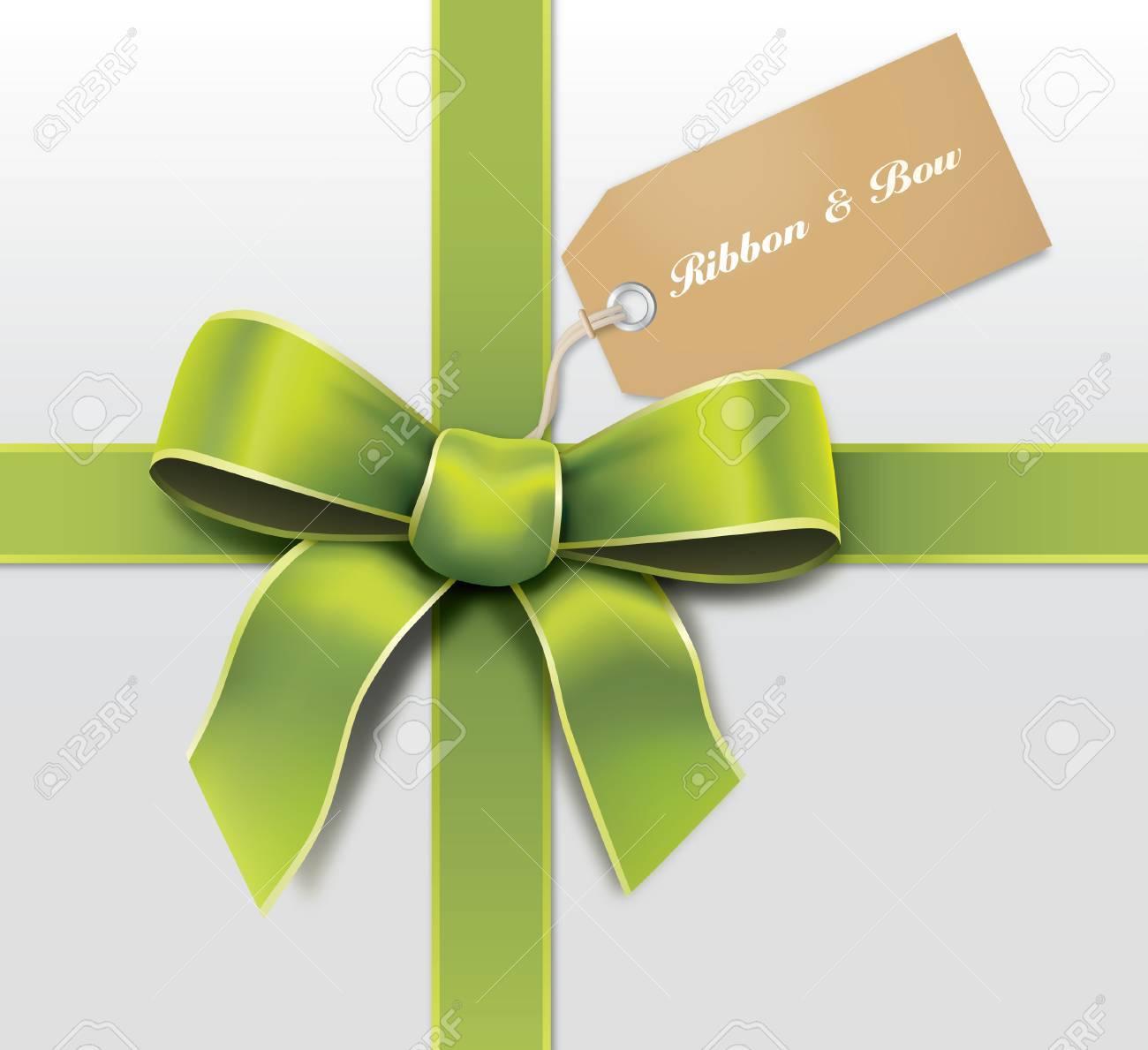 Satin green ribbon with card Stock Vector - 22770240