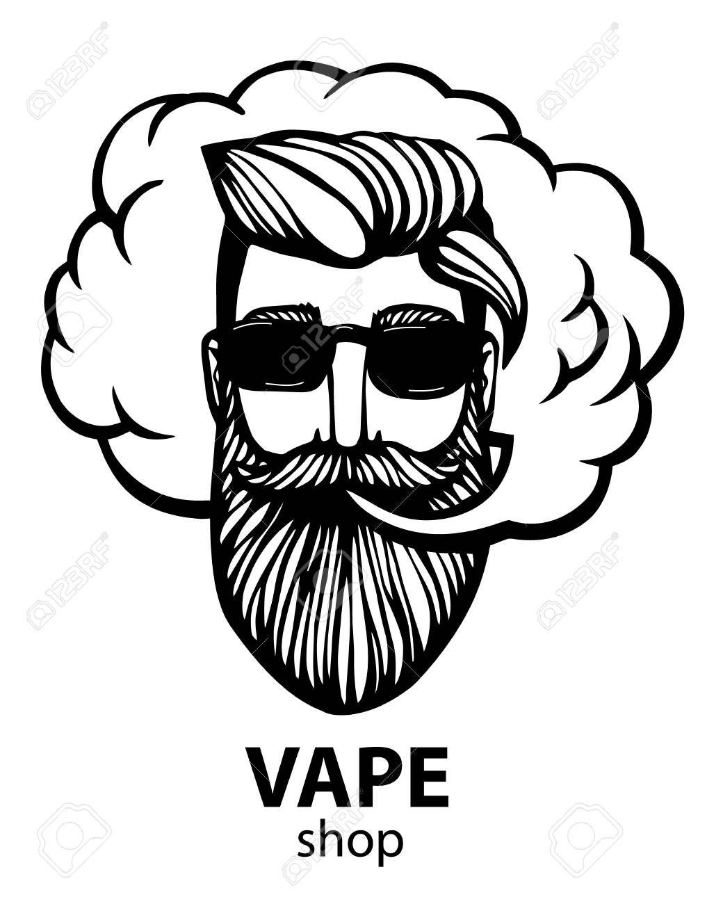 Hipster with vape and cloud  isolated vaper men on black vector