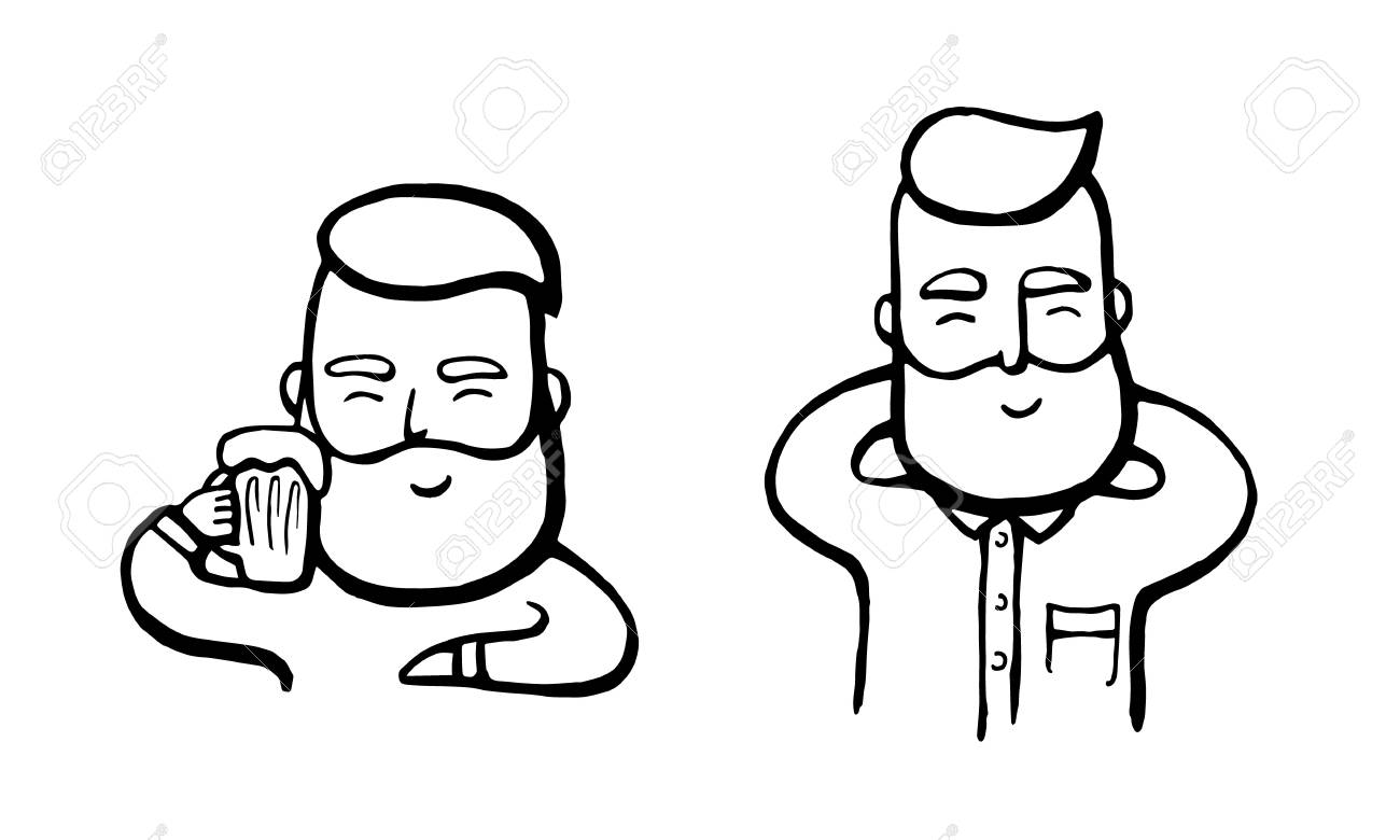 Stickers ogo emblem hand drawn hipster dude with mustache and beard relaxing happy smiling men with beer