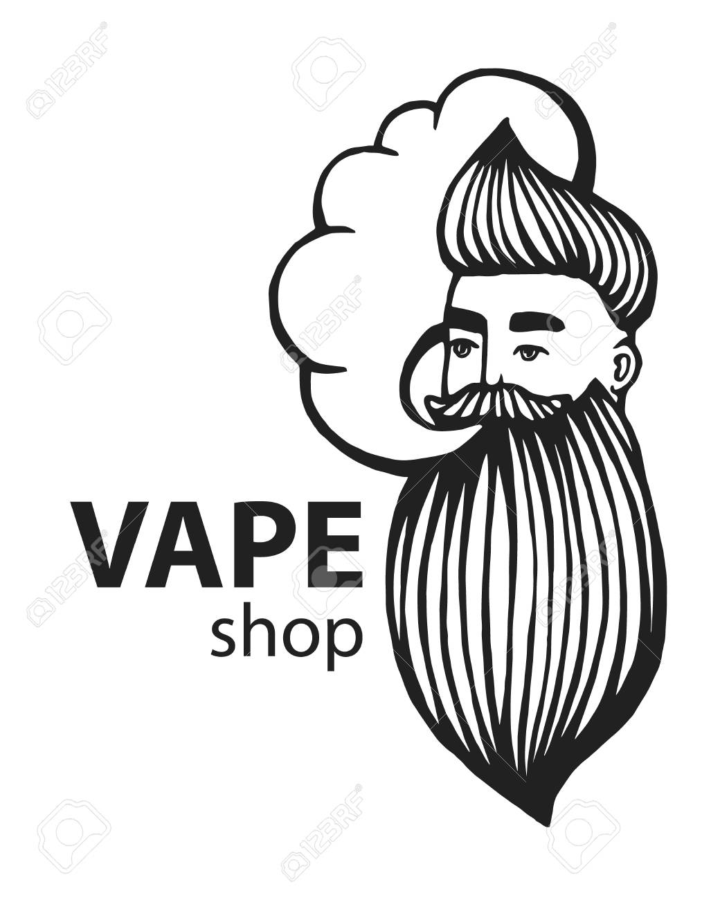 Hand drawn hipster with mustache and beard man with vape and cloud electronic