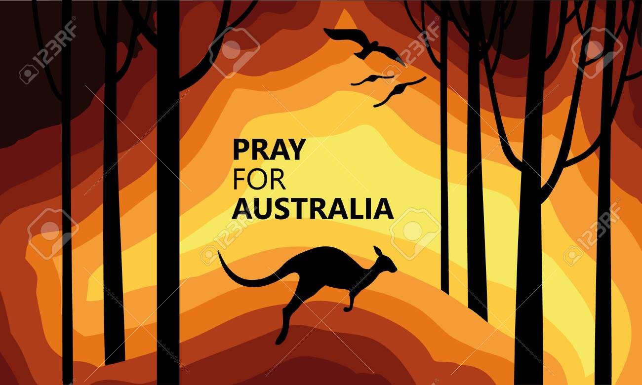 Australia fire. Social poster about climte cataclysm. Kangaroo runs from the fire on a background of the map of Australia. Vector stock illustration - 137027078