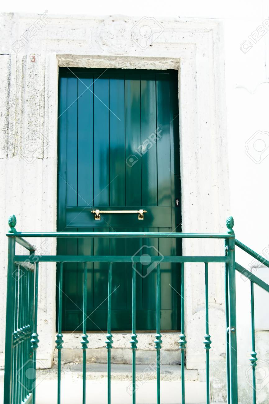 Frames In The Face Italian Front Door Stock Photo Picture And
