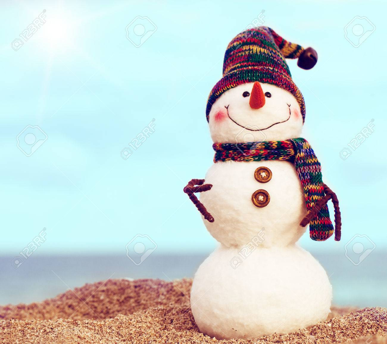 Smiling Snowman On The Sea Beach. Holiday Concept Can Be Used ...