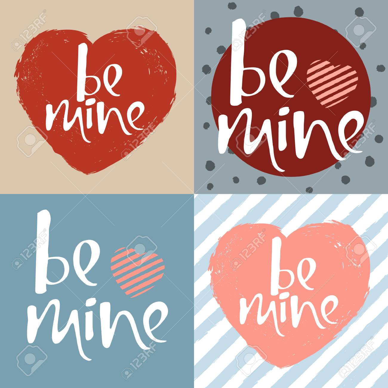 Set Of Lettering Posters With A Phrase Be Mine. Vector Art For ...