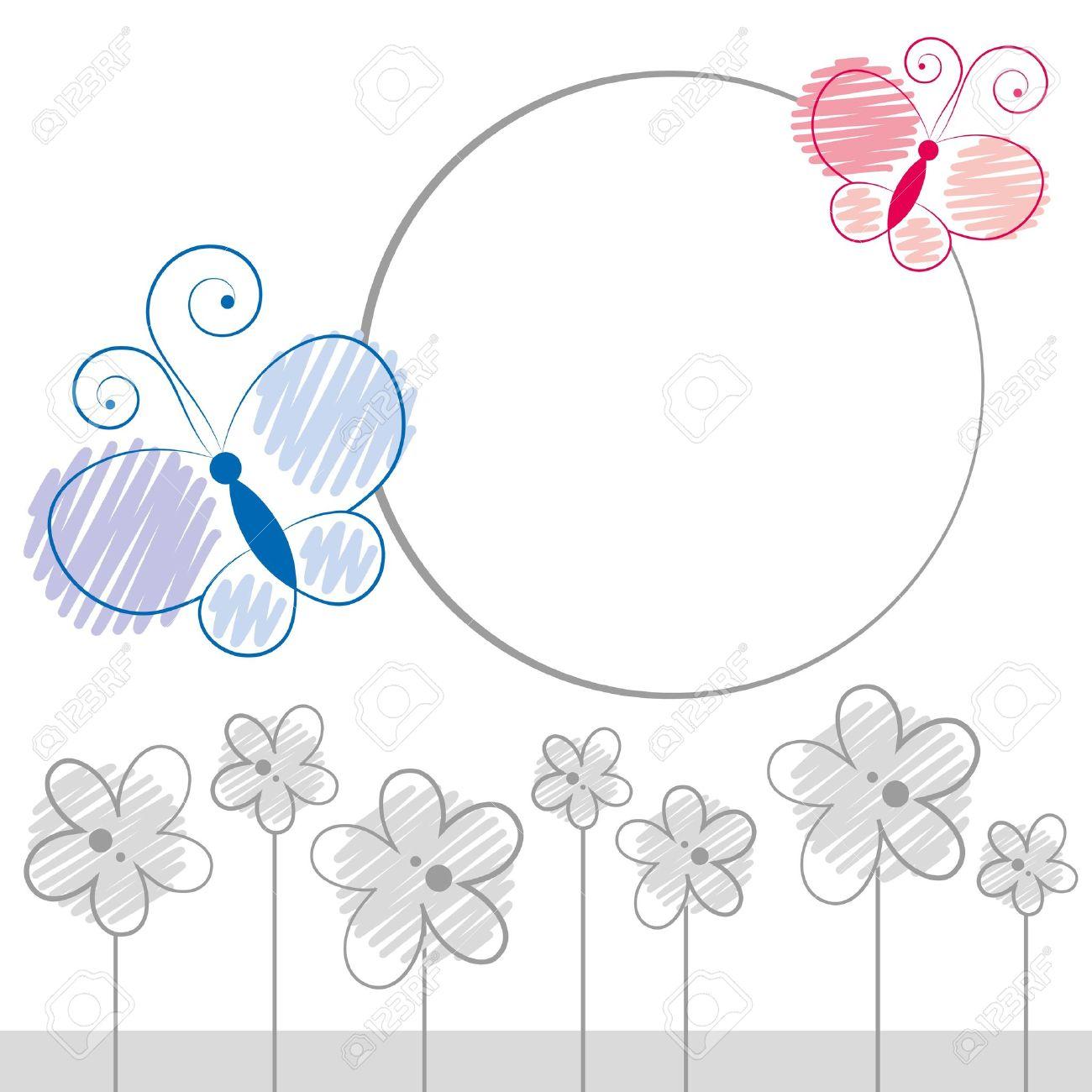 Ilustración Con Mariposas De Color De Dibujos Animados Y Flores Gris