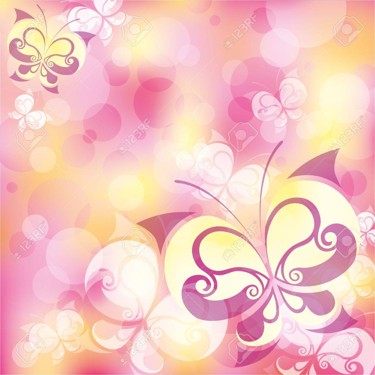 beautiful pink abstract background with elegant butterfly Stock Vector - 10034930