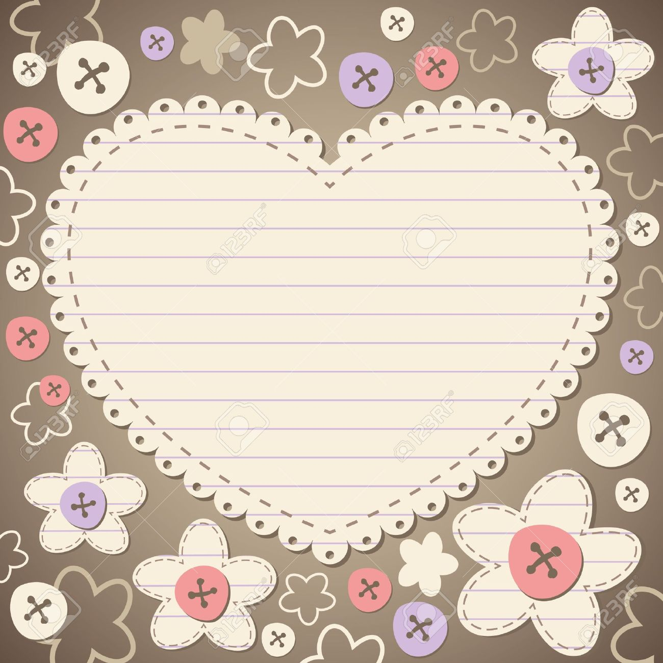 cute vintage romantic frame with old paper Stock Vector - 10199737