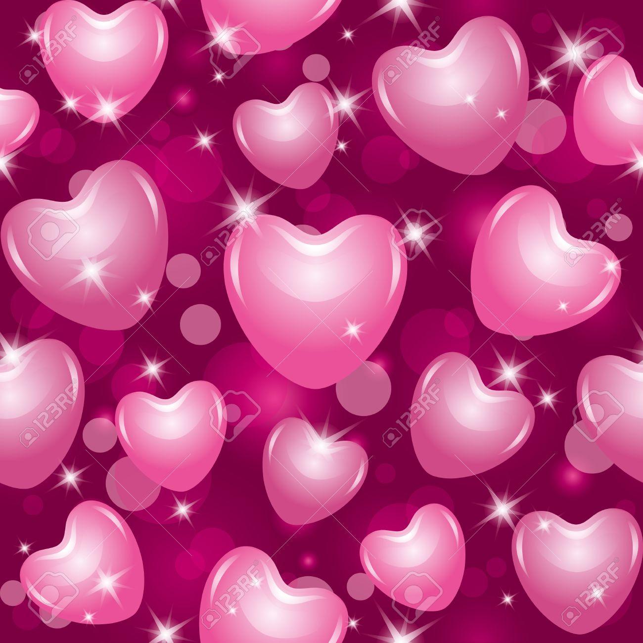 foto de archivo patrn transparente brillante con bellos corazones rosas