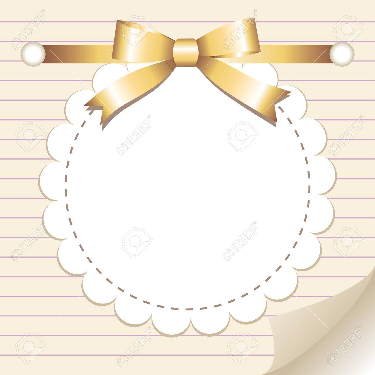 beige vintage frame with glossy gold bow Stock Vector - 10485311