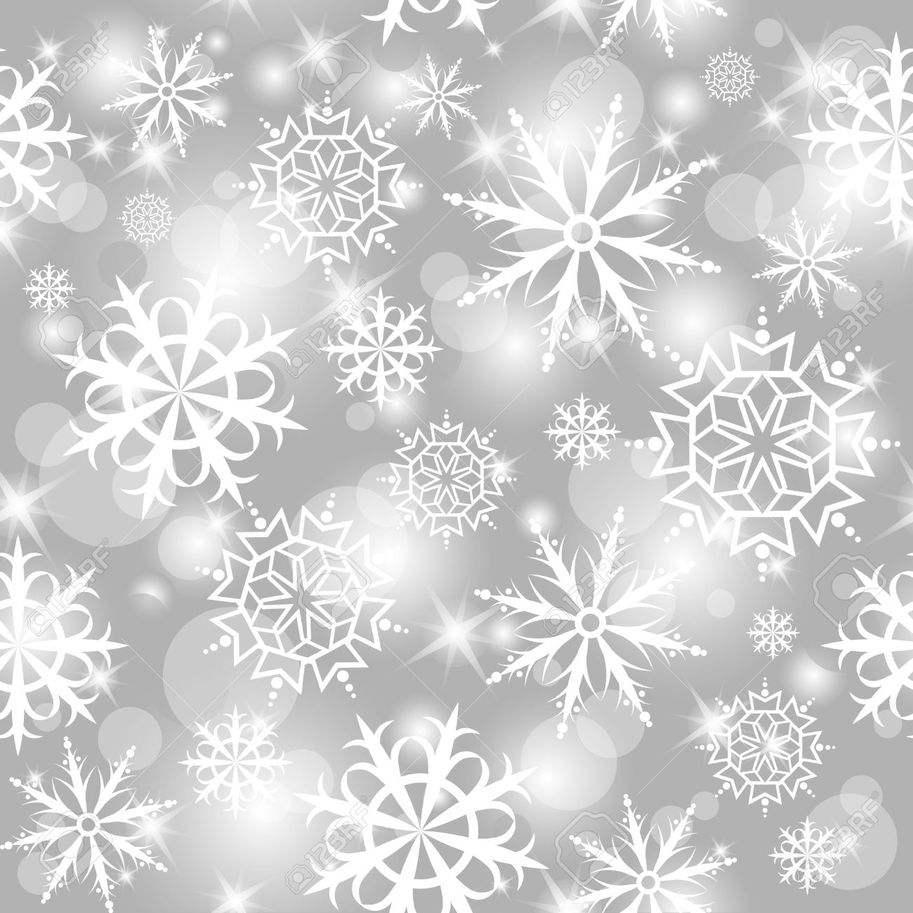 gray shiny seamless pattern with white snowflakes Stock Photo - 10485315
