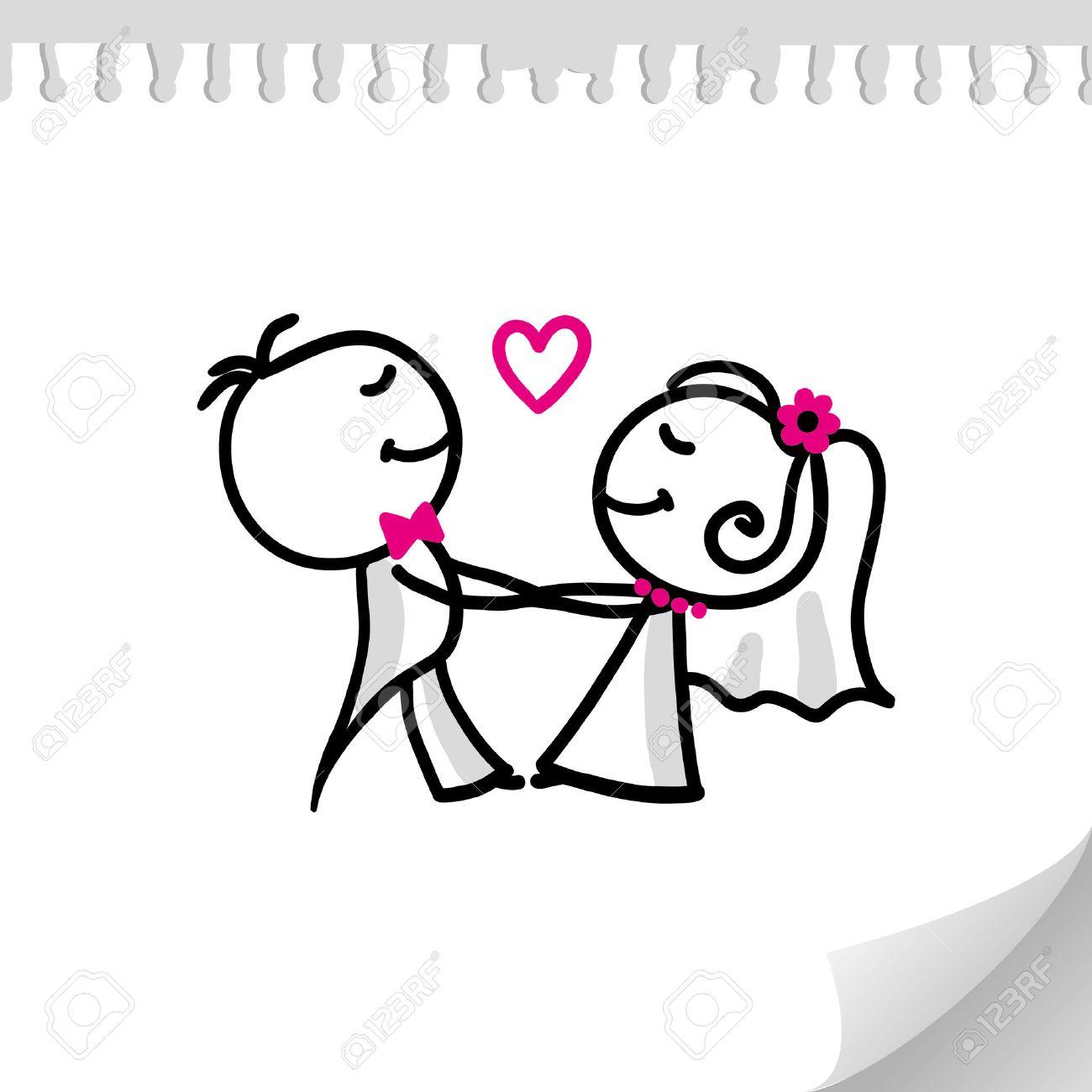 Couple de mariage du dessin animé sur la feuille de papier réaliste