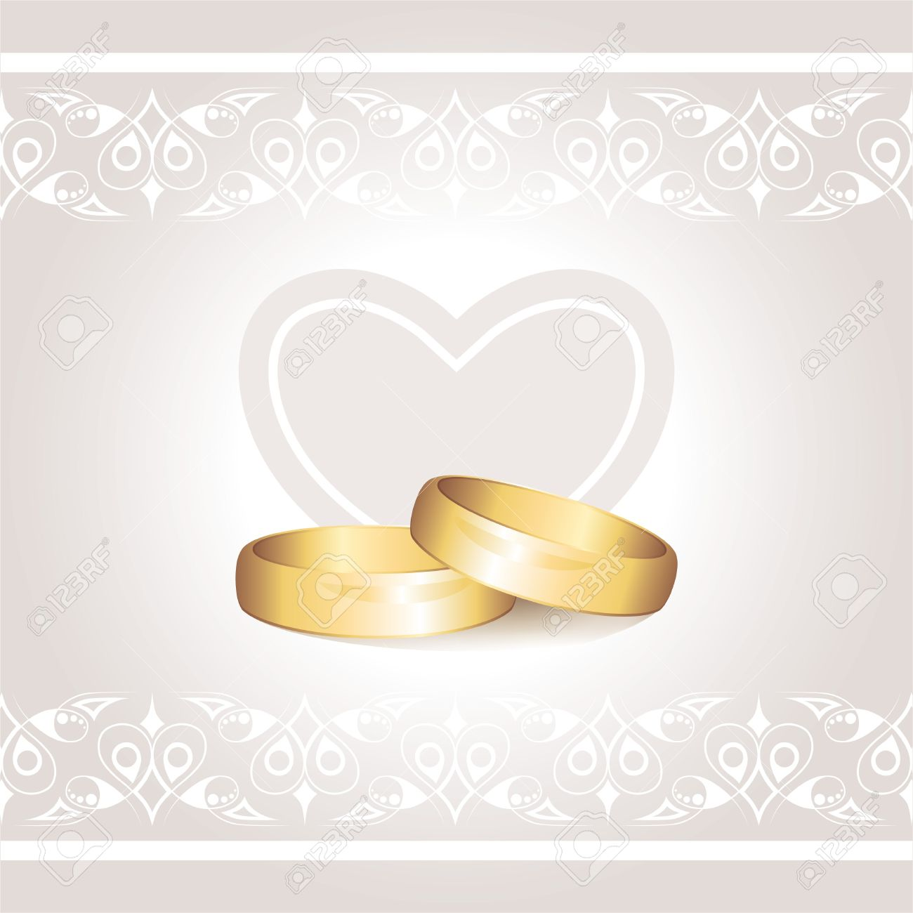 Wedding Invitation With Gold Rings On Gray Background Stock Photo