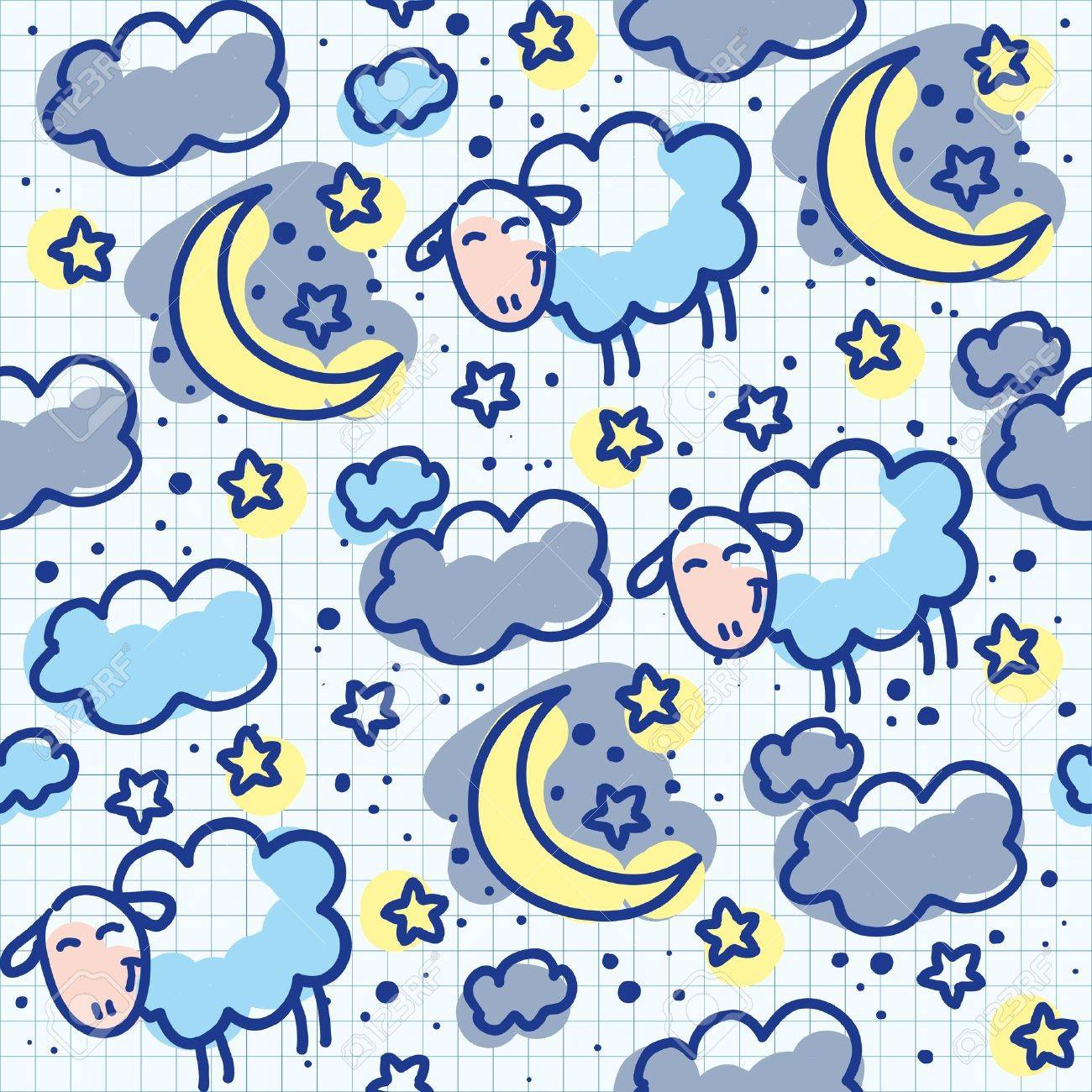 Bed sheets texture seamless - Vector Hand Drawn Seamless Pattern With Moons And Sheeps