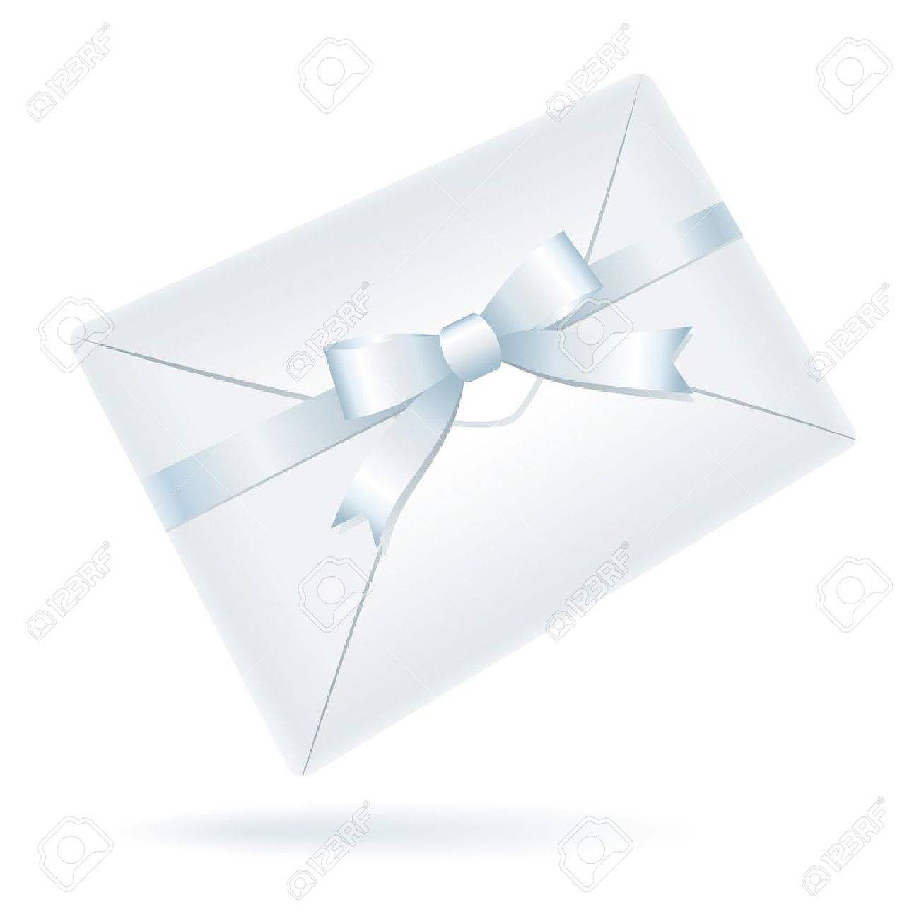 realistic white envelope with bow on white background Stock Vector - 10588237