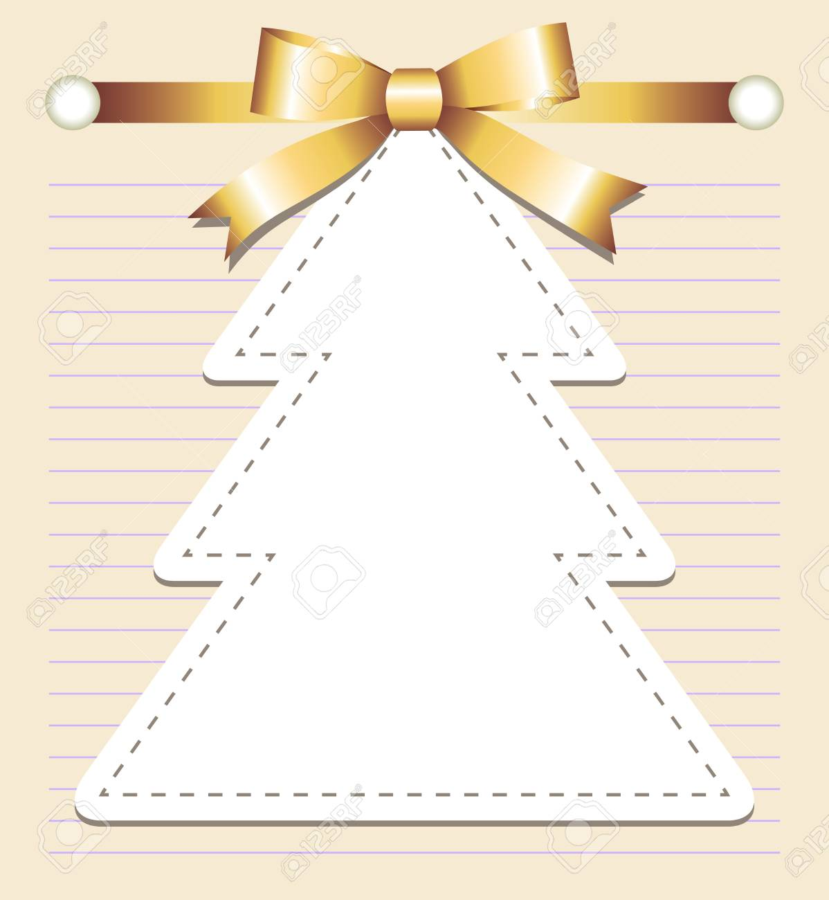 christmas tree with bow on old page Stock Vector - 10588240