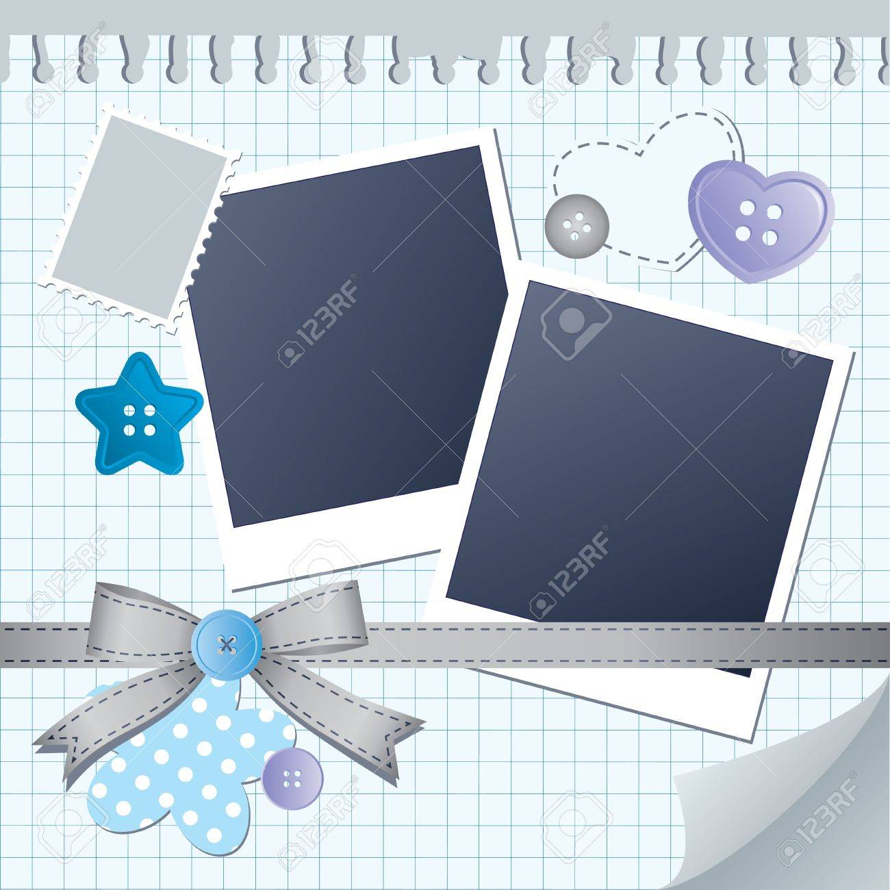 blue frame for photos with scrapbook elements Stock Vector - 10800644