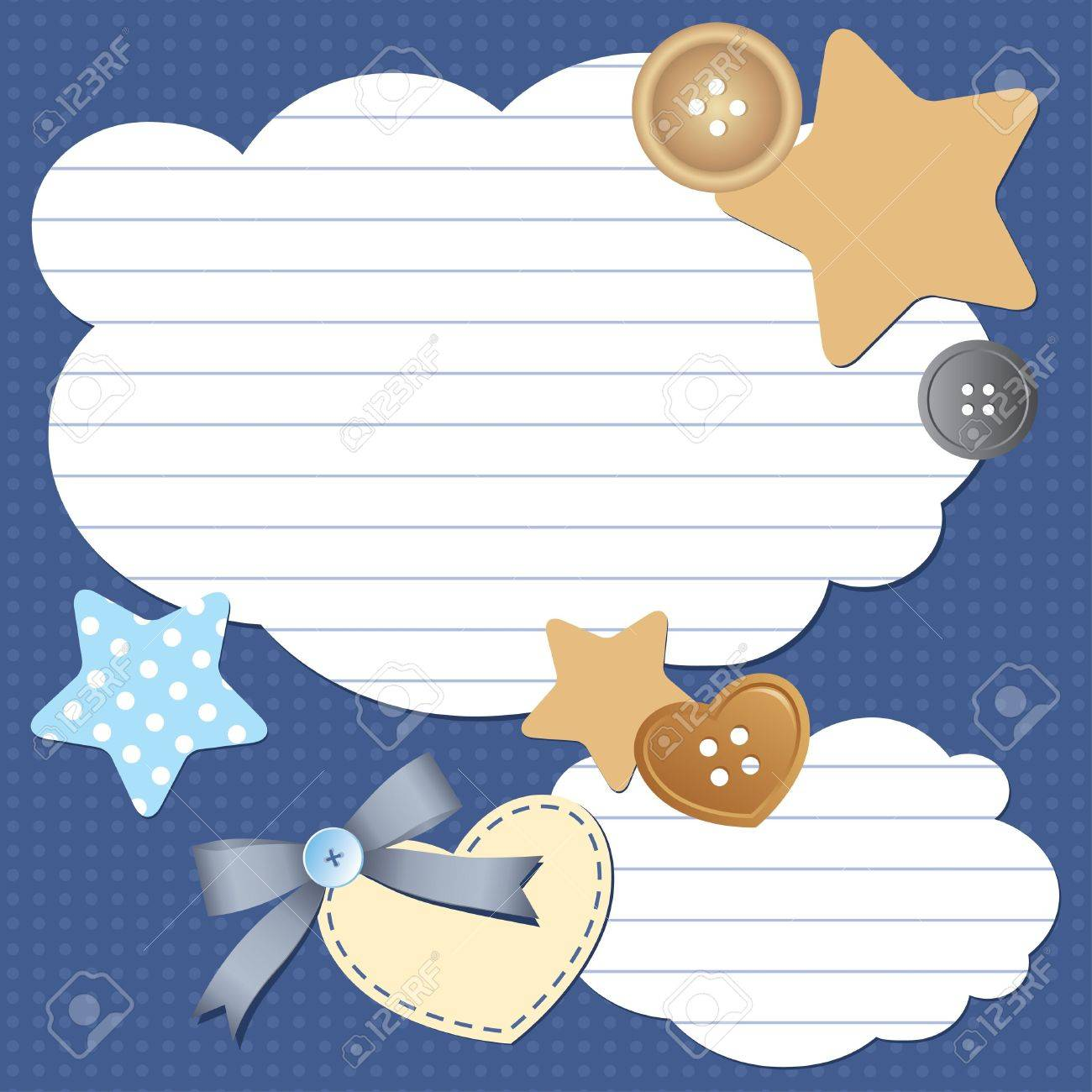 Scrapbook paper clouds - Vector Frame With Paper Clouds And Scrapbook Elements
