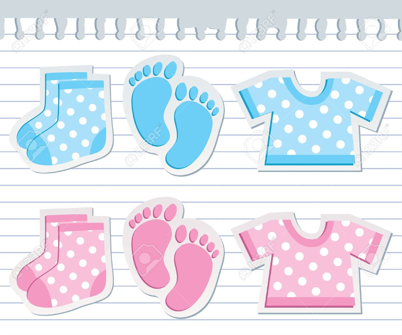 Scrapbook paper baby - Vector Cute Baby Stickers On Realistic Paper Sheet