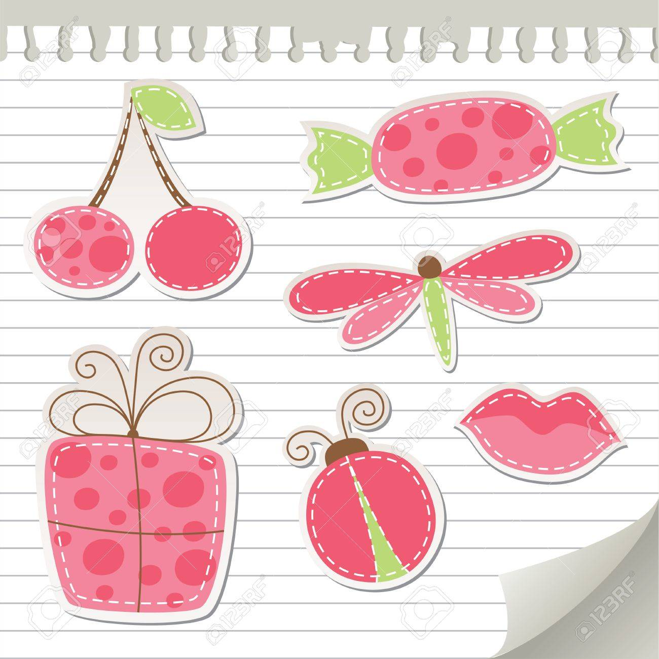 Scrapbook paper and stickers - Vector Cute Pink Stickers Set On Realistic Paper
