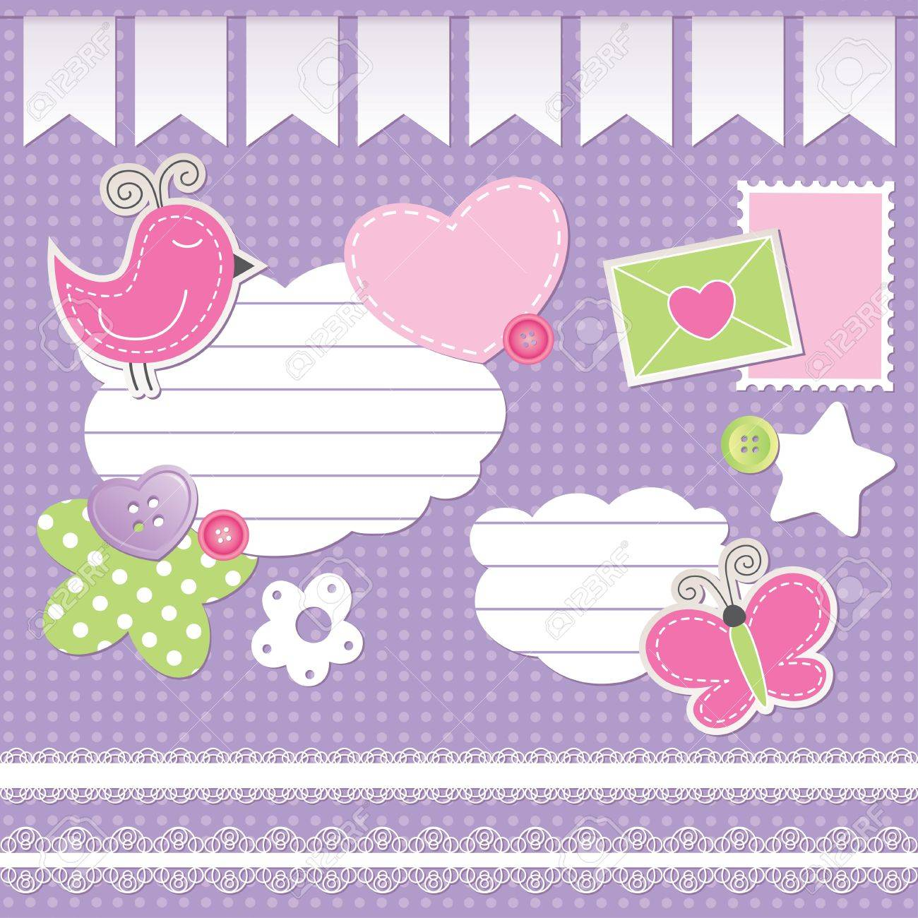 set of scrapbook elements on violet background Stock Vector - 10900728