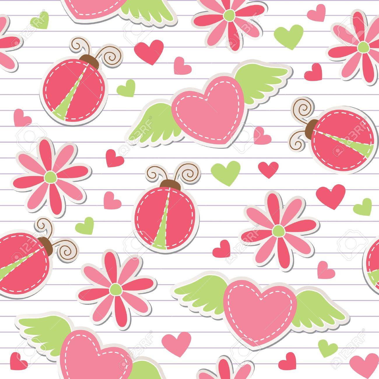cute romantic seamless pattern with ladybugs, hearts and flowers Stock Vector - 11060638