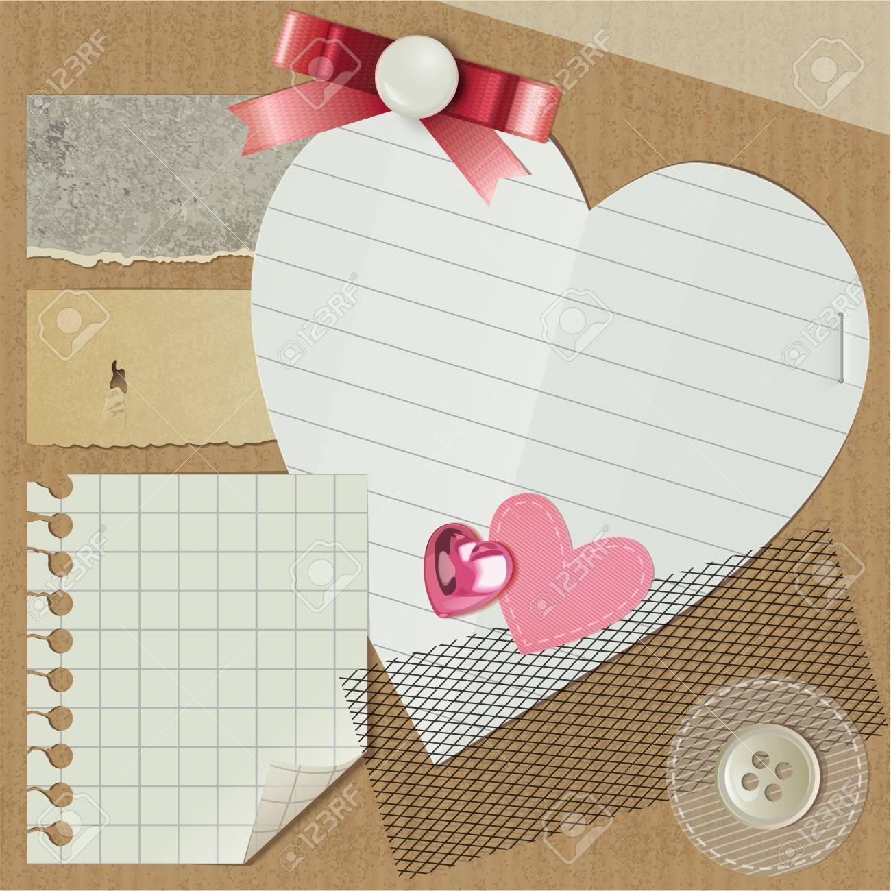 scrapbooking set with realistic romantic elements Stock Vector - 11118460