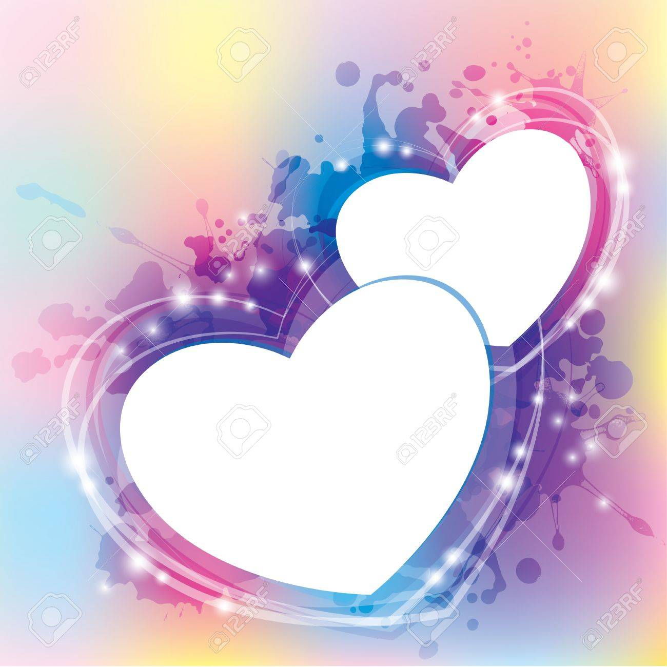 abstract background with hearts and blots. Stock Vector - 11172557