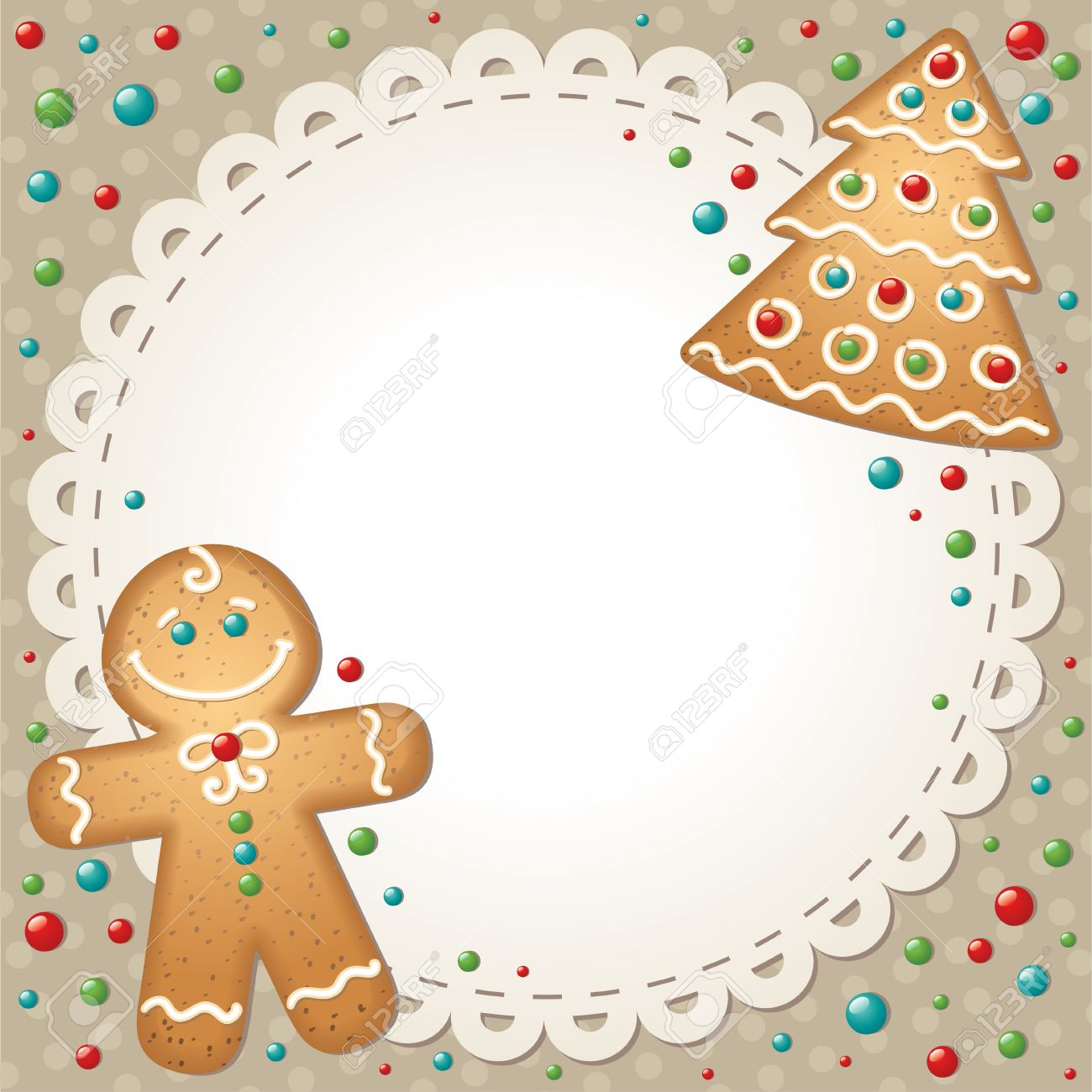 christmas card with gingerbreads and white frame Stock Vector - 11438624