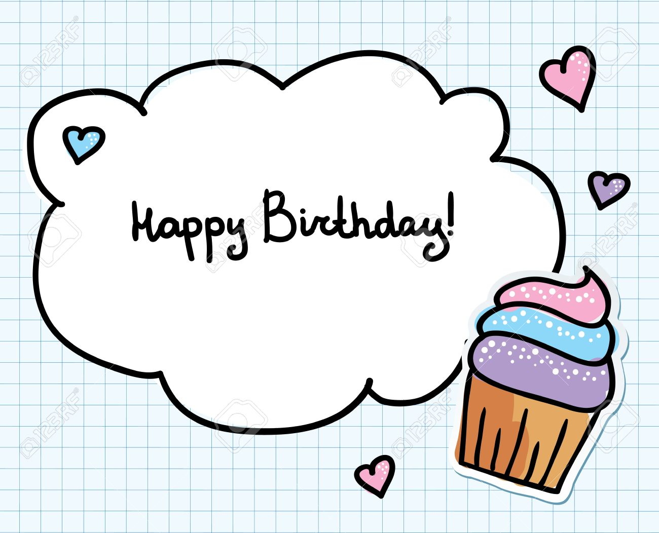 Birthday Greeting Card With Cute Cupcake And Hearts Royalty Free – Cute Birthday Greeting Cards