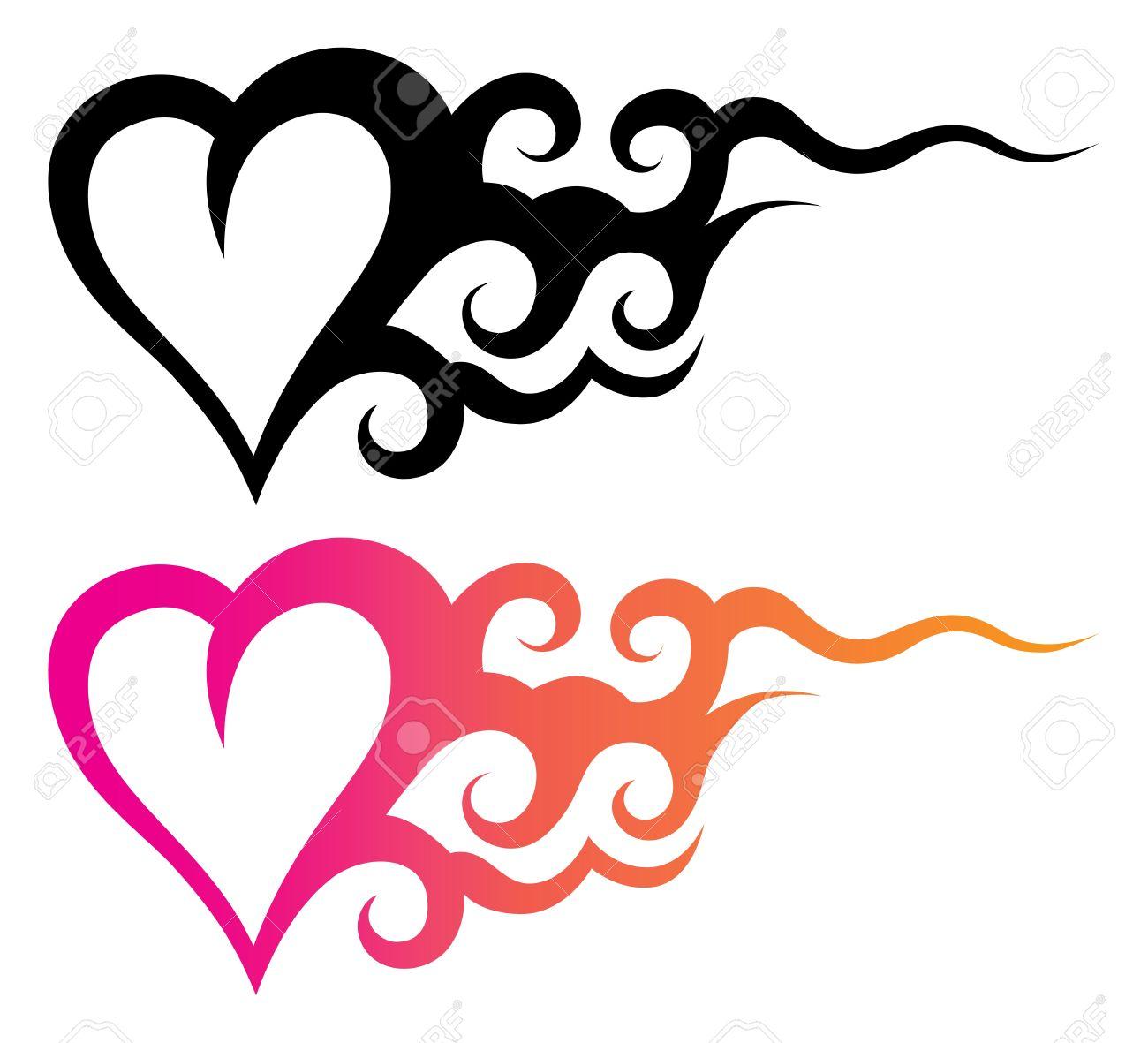 Plantilla De Tatuaje De Un Corazón Con Ornamento Abstracto