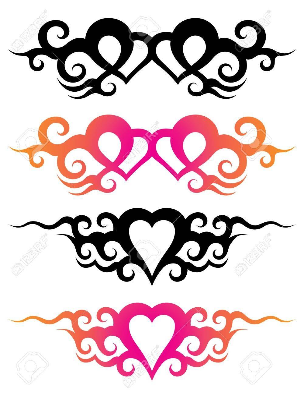 Plantillas De Tatuaje De Un Corazón Con Adornos Abstractos
