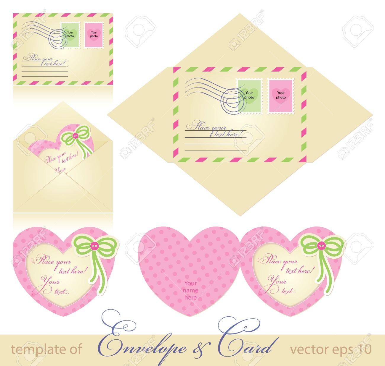 Scrapbook paper envelope template - Vector Envelope And Greeting Card Template Vector Eps 10