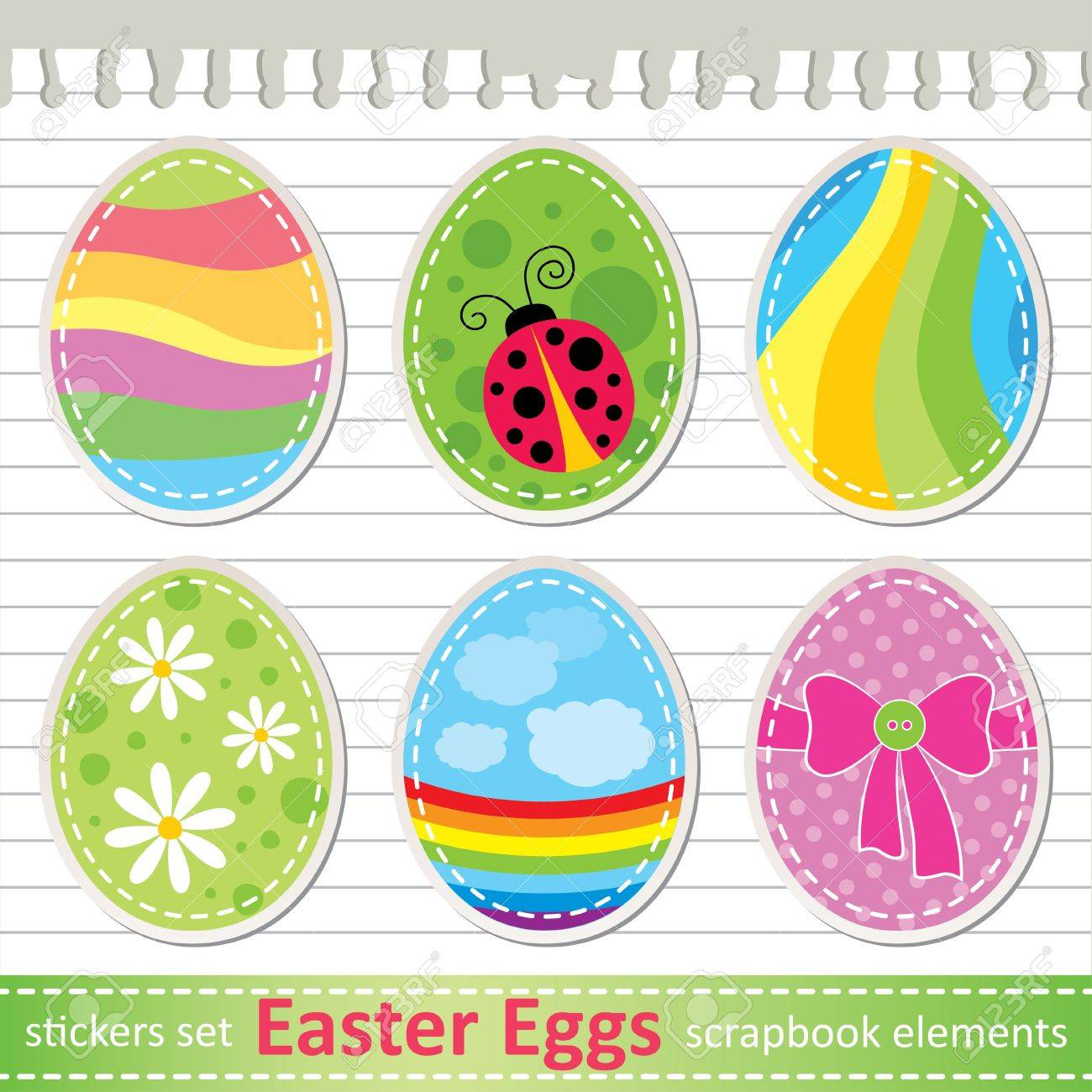 set of stylized easter eggs paper stickers royalty free cliparts
