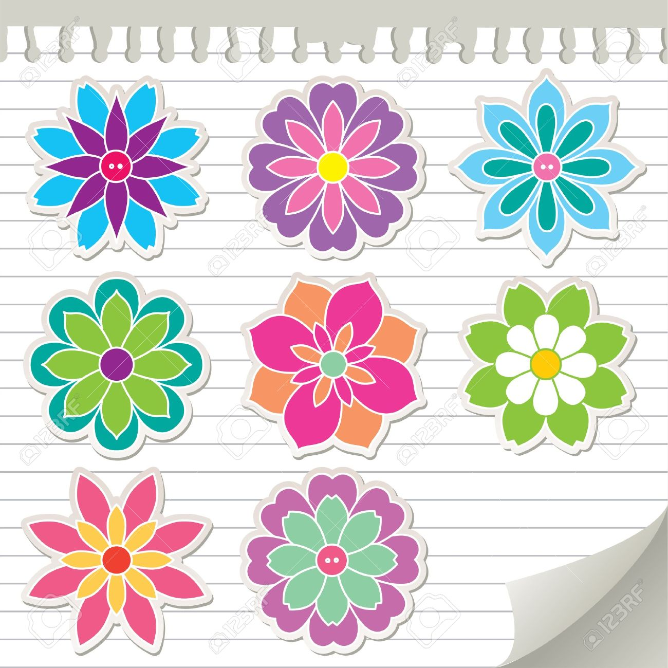 set of colorful flowers, vector stickers, eps 8 royalty free